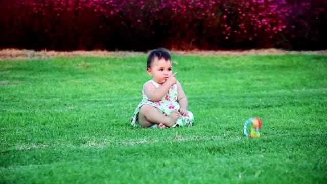 giocando bambino ragazza in natura - 0 11 mesi video stock e b–roll