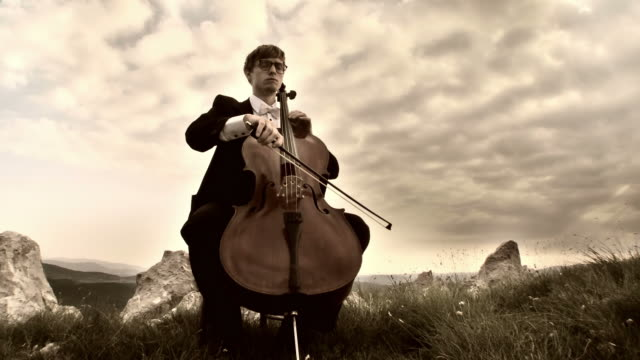 HD CRANE: Playing Cello Outdoors video