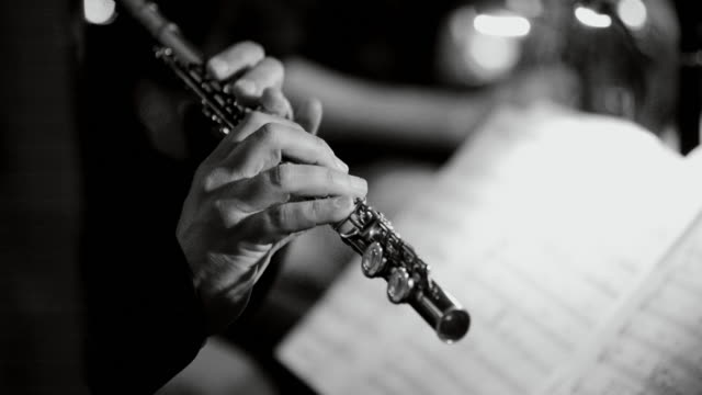 Playing live jazz concert: flute