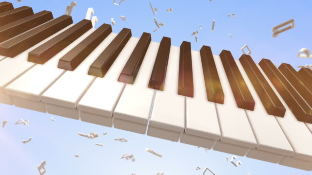 Playing Piano With Flying Musical Notes video