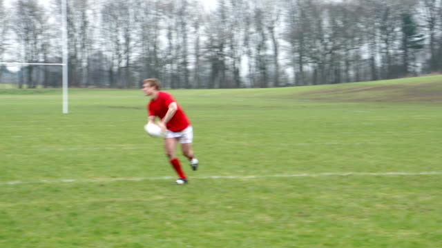 Playing Rugby in a match on a grass field video