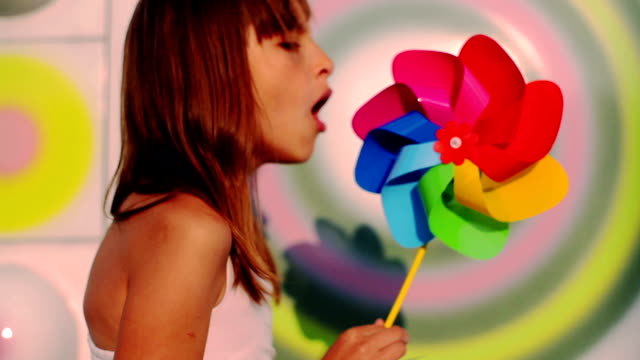 playing with a pinwheel video