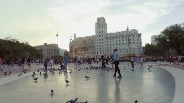 Plaza Catalunya de Barcelone, Espagne - Vidéo