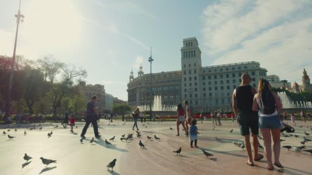 La Plaza de Catalunya, Barcelone, Espagne - Vidéo