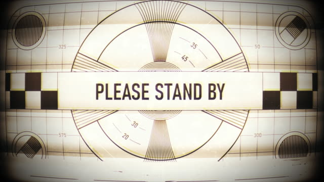 Please stand by text on retro TV screen, no signal, no transmission, silence TV static classic pattern the past stock videos & royalty-free footage