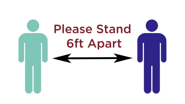 Please Stand Six Feet Apart - Social Distancing Graphic For Business Please Stand Six Feet Apart - Social Distancing Graphic For Business covid icon stock videos & royalty-free footage