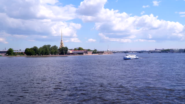 Pleasure boat on the background of Peter and Paul Fortress video