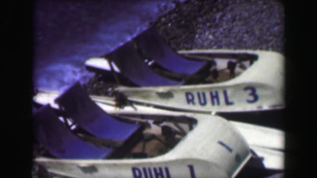1949: Pleasure vacation 2 person boating vehicle beached Ruhl 1 and 3. video