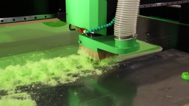 Plexiglass milling on CNC machines. Plexiglass milling on CNC machines. A modern CNC machine processes acrylic at a furniture factory. Plexiglass processing on the CNC wall. Modern 3D technologies in industry. painting art product stock videos & royalty-free footage