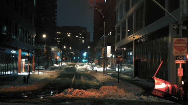 Plowing NYC Streets - 4k video