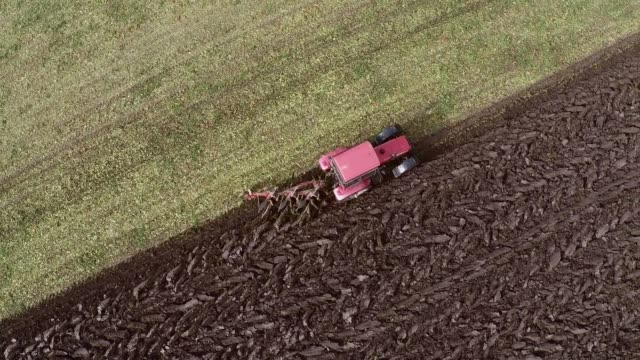 Plowing of pepper field on cloudy fall day. Aerial footage. video