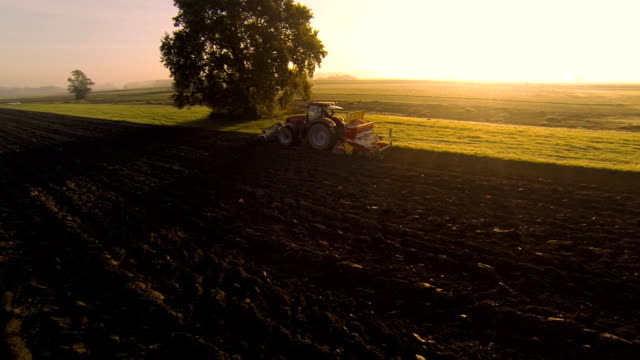 HD: Plowing The Field At Sunset video