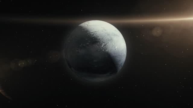 pluto planet in space 3d illustration - orbitare video stock e b–roll