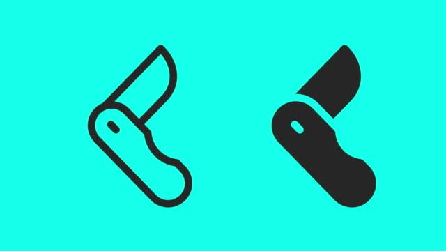 pocket knife icons - vector animate - icona posate video stock e b–roll