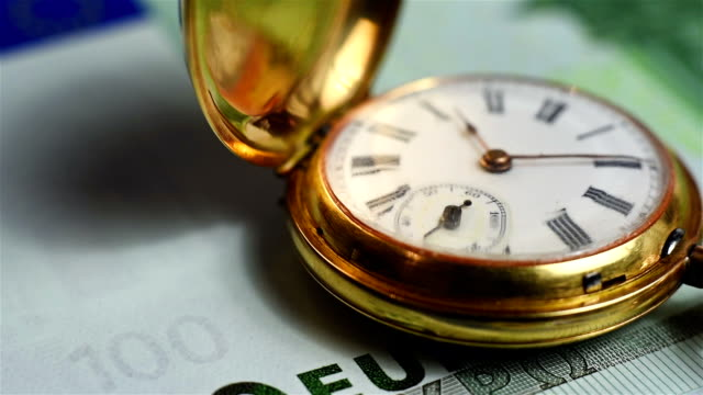 pocket watch and euro banknote video