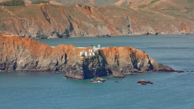 AERIAL Point Bonita Lighthouse at the entrance into the San Francisco Bay