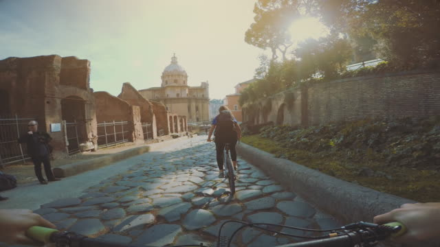 Point of view POV bicycle ride to the Roma Forum video