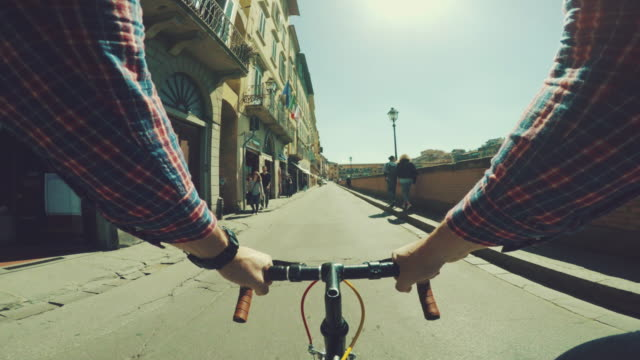 Point of view POV bicycle: urban street of Firenze video