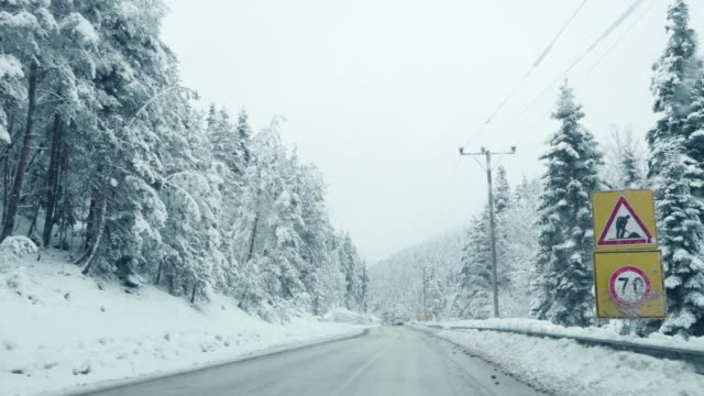 Point of View Driving on way in Winter