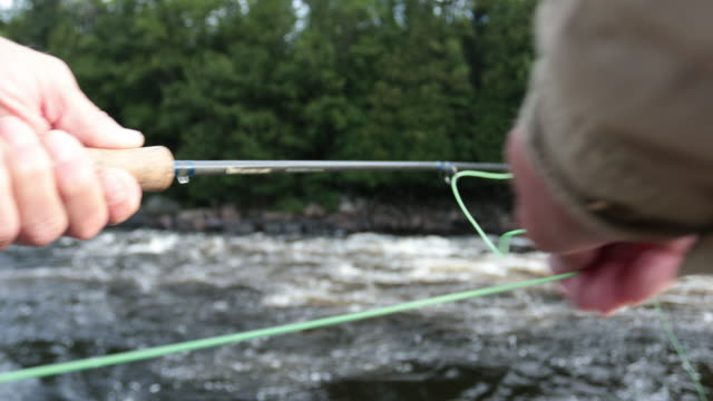 Point Of View Fisherman Fly Fishing in River video