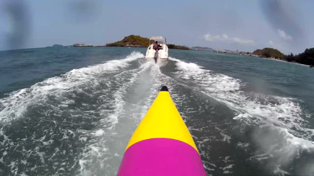 point of view from banana boat in the sea video
