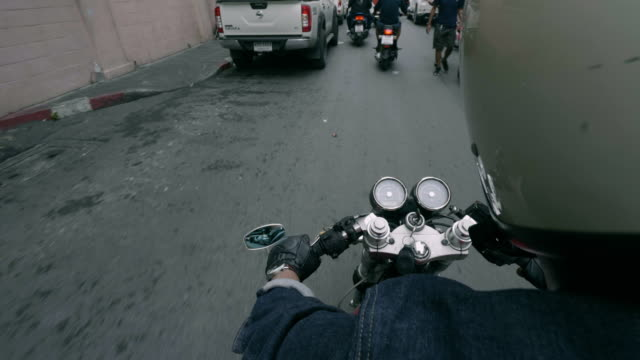 Point of view of a motorcycle rider rides video