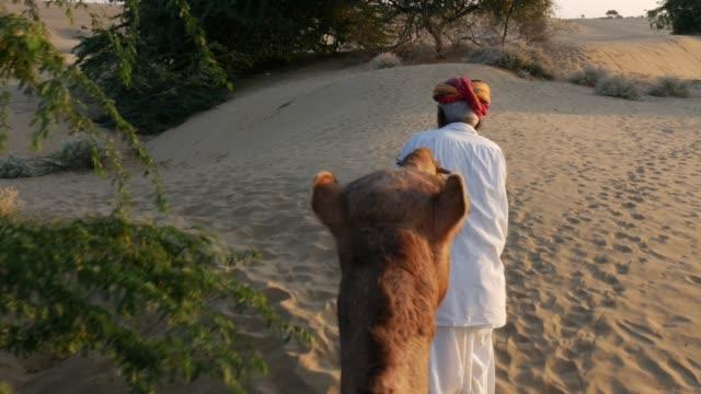 사막에서 모래 언덕에서 낙 타 타고의 관점 - oman 스톡 비디오 및 b-롤 화면