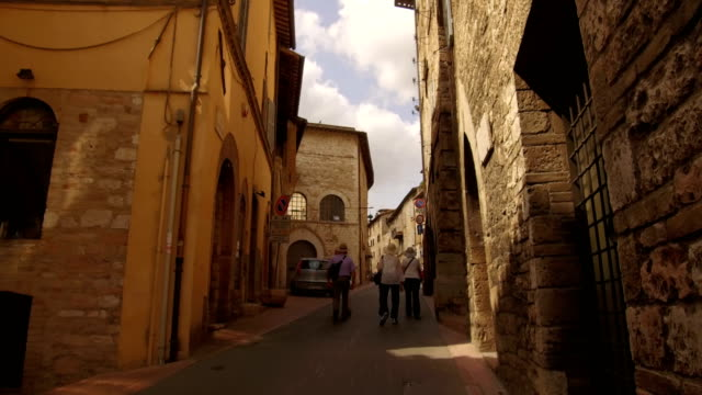 point of view of a walk in the alleys of Assisi video