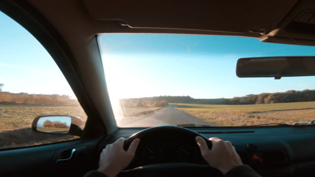 Point of view of one person driving car with hands on steering wheel Personal perspective - point of view (POV) - of driver, who drives his car on a road. The hands are on the steering wheel and the sun is shining outside. He drives on country roads as the sun is about to set. The sky is blue. angle stock videos & royalty-free footage