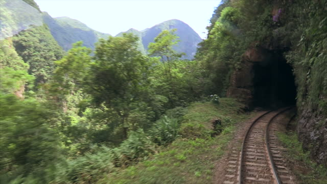 Point of view of railroad train entering a tunnel. Train POV moving forward and enters dark tunnel. Conceptual take for traveling and seeing new horizons. video