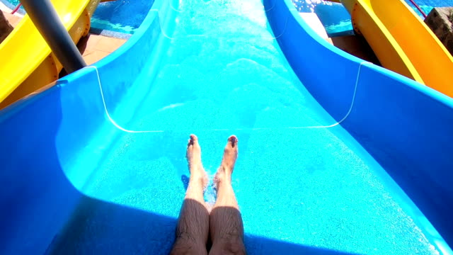 Point of view on the water slide in the water park video