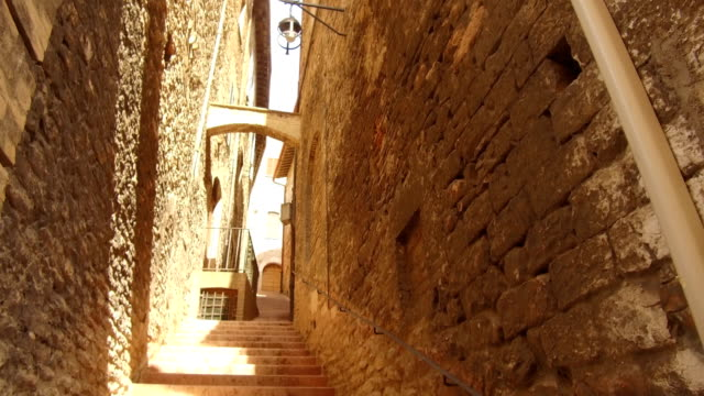 point of view walking in the alleys center, Assisi video