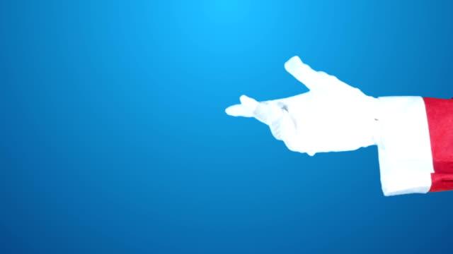 pointing hand gesture santa claus christmas green screen 4k chroma key video footage set. - rękawiczka filmów i materiałów b-roll
