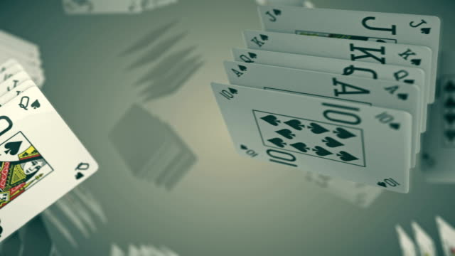 poker Card game rotating and transition with luma matte alpha channel - seamless loop - stock video