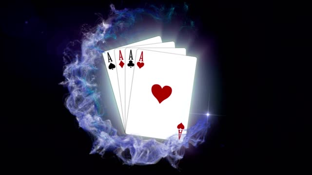 FOUR ACES, Poker Card in Particles Ring, Rendering, Background, with Final White Transition video