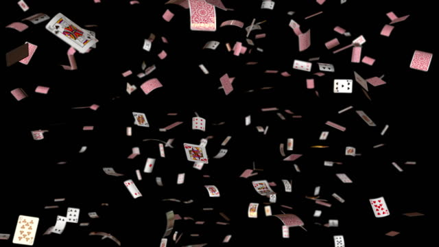 poker cards falling loop with alpha and DOF