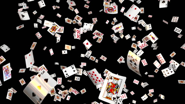 poker cards falling  with alpha