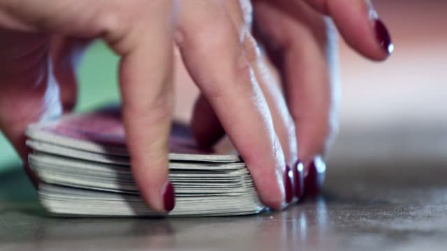 Poker game - shuffling cards in a Casino video