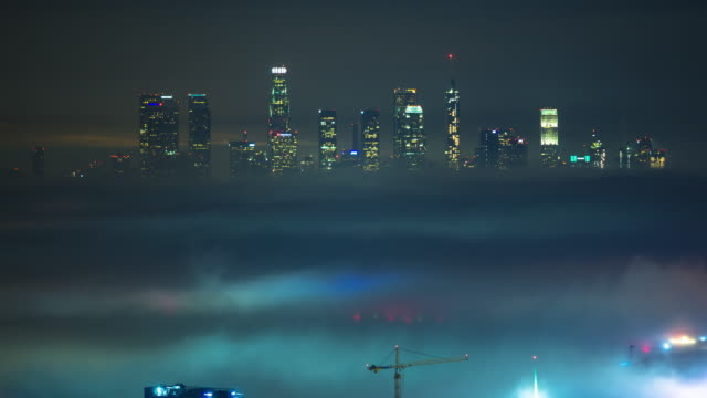 DTLA Poking Out of Fog - Time Lapse video