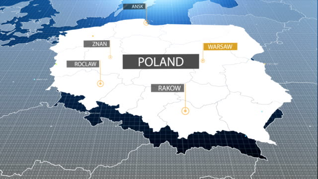 Poland map with label then with out label video