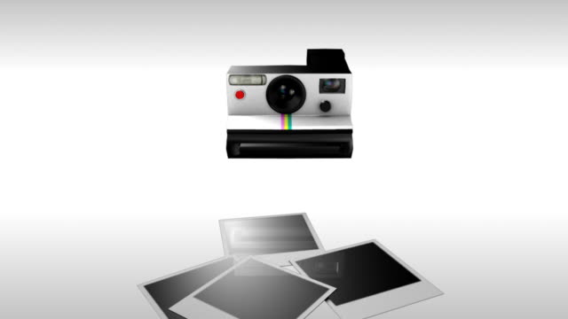 Polaroid pictures with flash 3D animation of a polaroid camera snapping four pictures with flash. The images are of a random, landscape, flowers, dogs and a cityscape. Each one fades in slowly and individually. Includes an alpha channel. polaroid frame stock videos & royalty-free footage