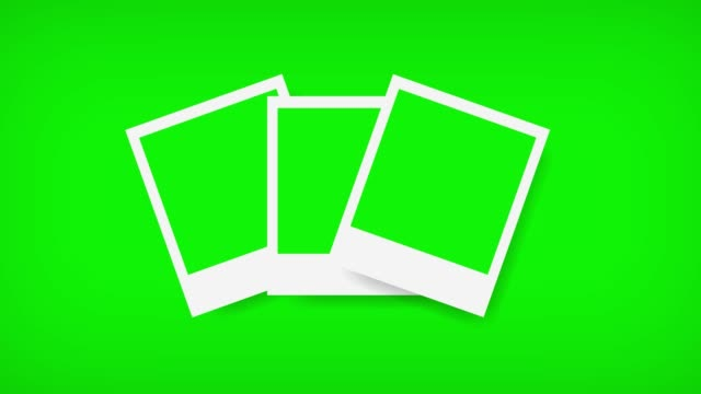 polaroids frames with green screen for your photo. 4k - foto video stock e b–roll