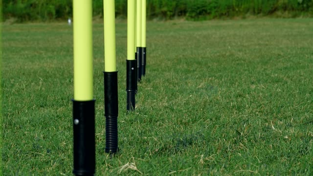 Poles in a row on a field for training soccer, 4k dolly