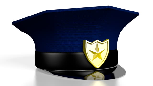 3d police cap on white background - кепка стоковые видео и кадры b-roll