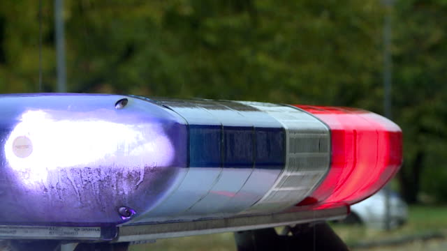 A police car is flashing. Red and blue lights and sirens. A police car is flashing. Red and blue lights and sirens. day stock videos & royalty-free footage