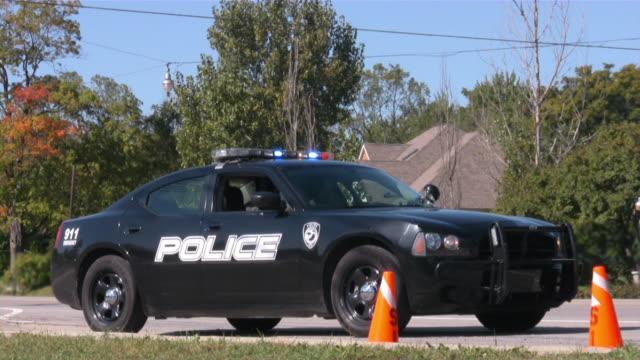 Police car on traffic patrol.