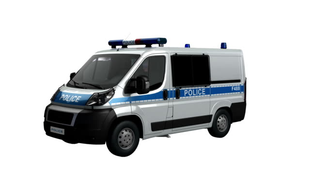 EU police car spin isolated with luma matte