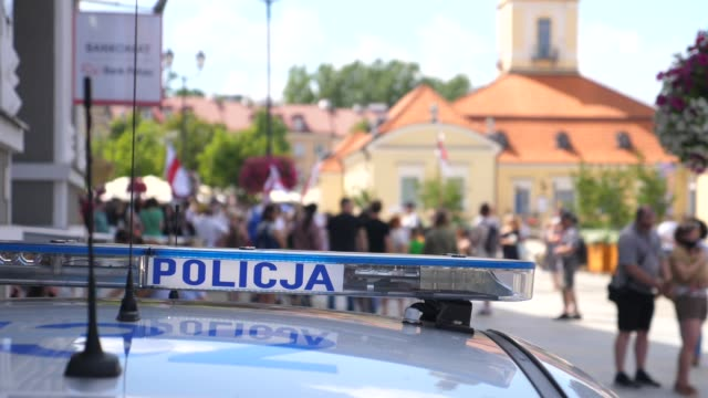 Police control protesters against violence against the Belarusian people in Poland Police control protesters against violence against the Belarusian people in Poland. High quality FullHD footage belarus stock videos & royalty-free footage