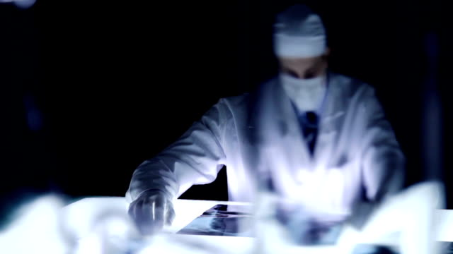 Police Doctor Investigator Examining Evidence Medical Laboratory video