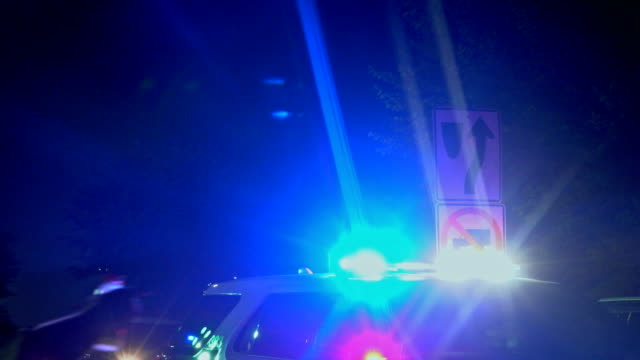 Police lights flashing at police in a night city with red and blue flashing emergency light